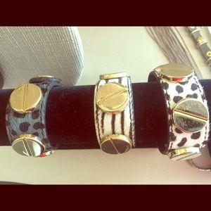 Jewelry - Animal print fur & gold cuff bracelets